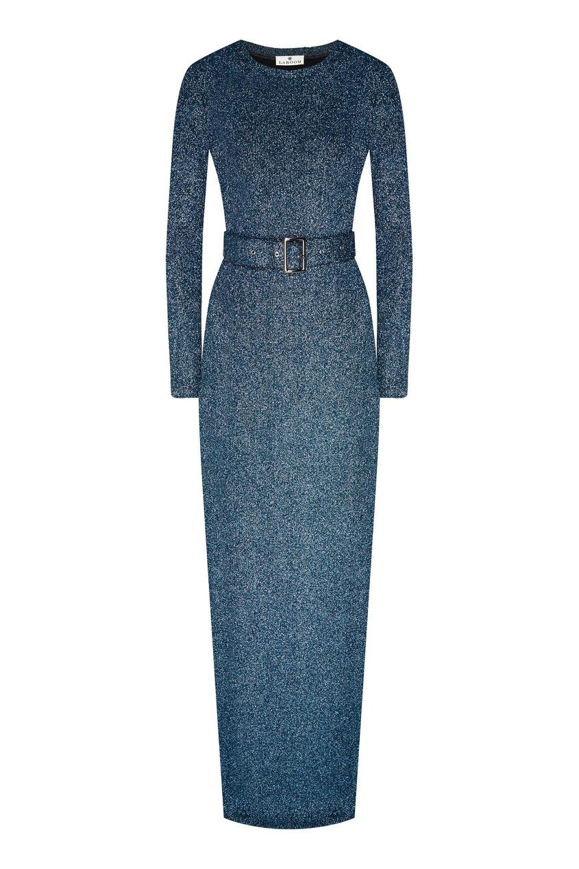 Люрексное платье макси с поясом Laroom