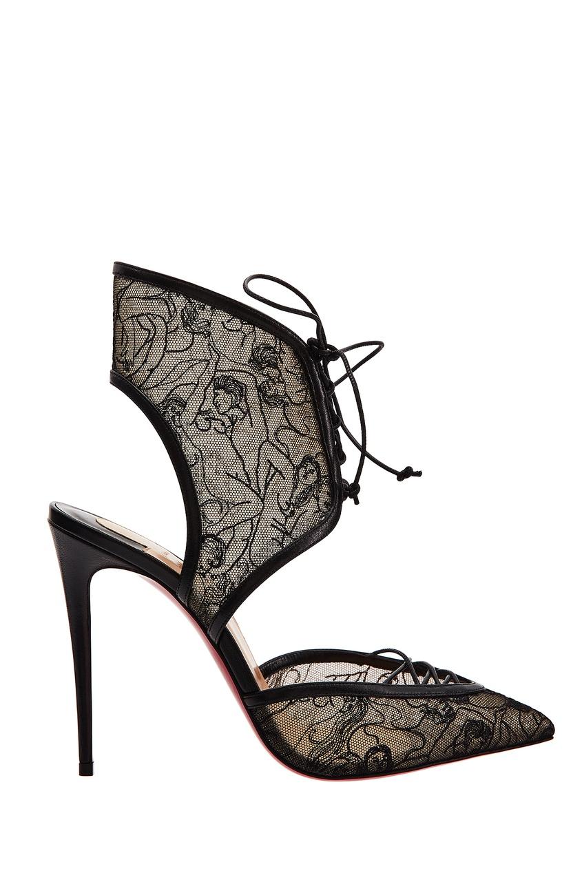 Туфли из гипюра и кожи Josephine 100 Christian Louboutin
