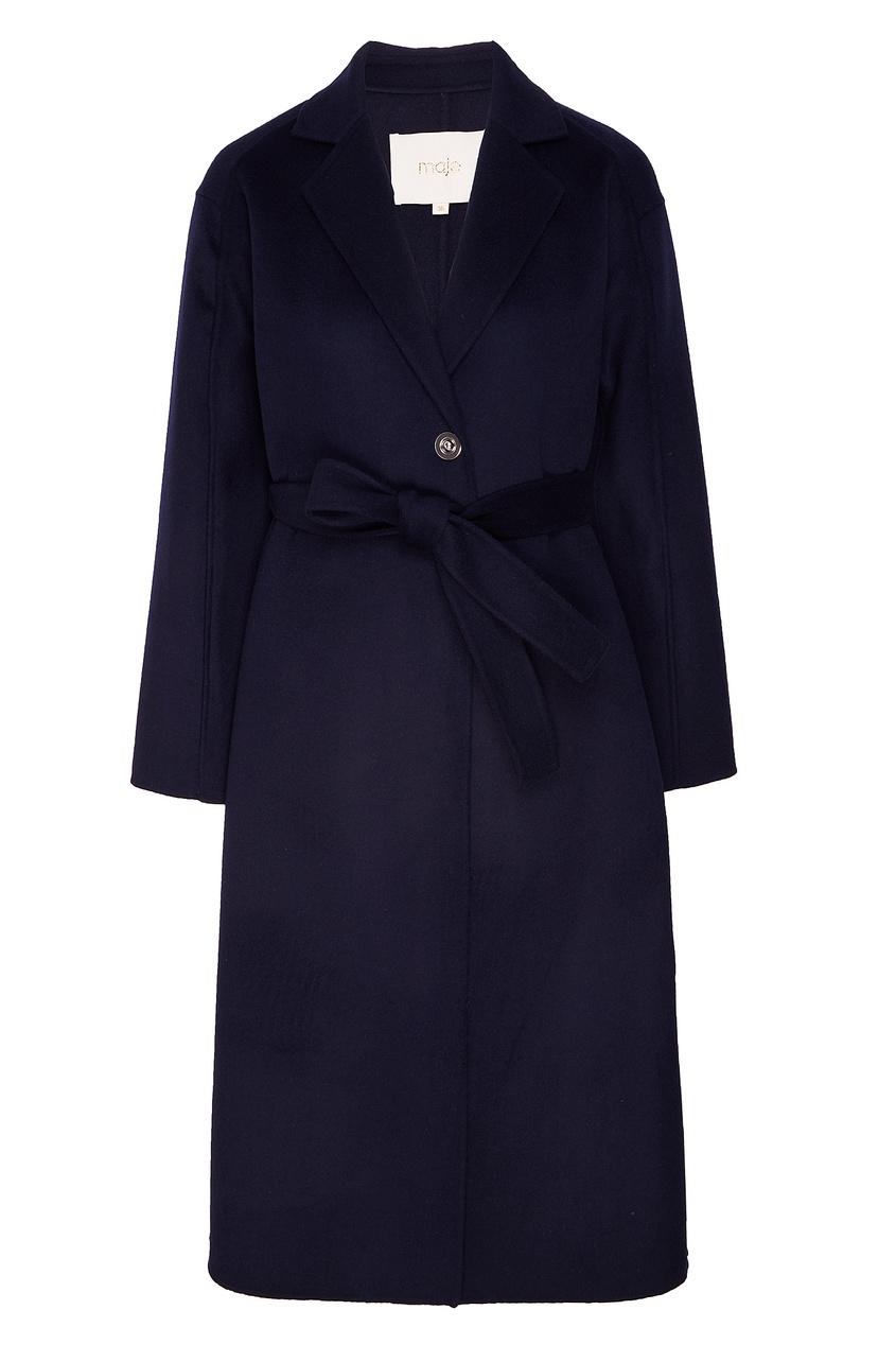 Купить со скидкой Черное однобортное пальто