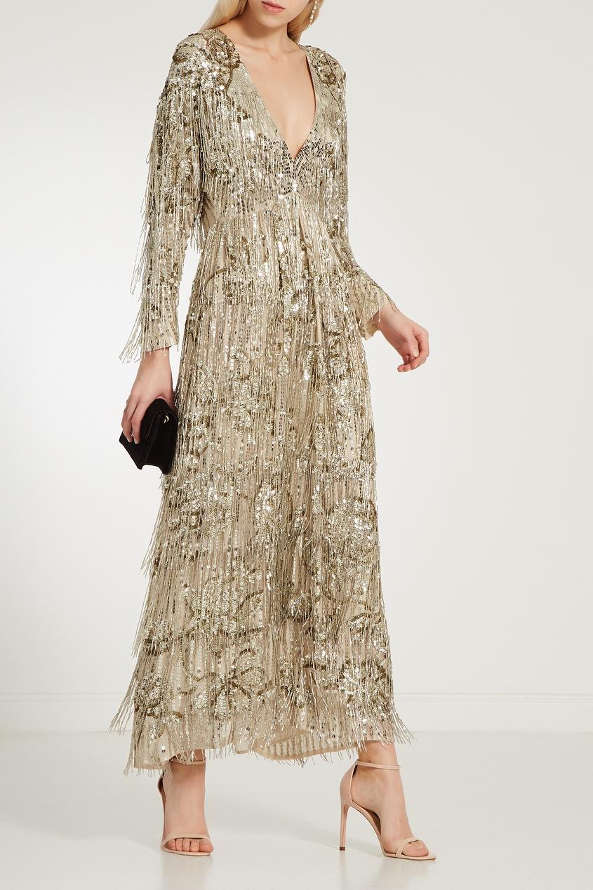 Фото 3 - Платье макси с золотистыми пайетками от Gucci бежевого цвета