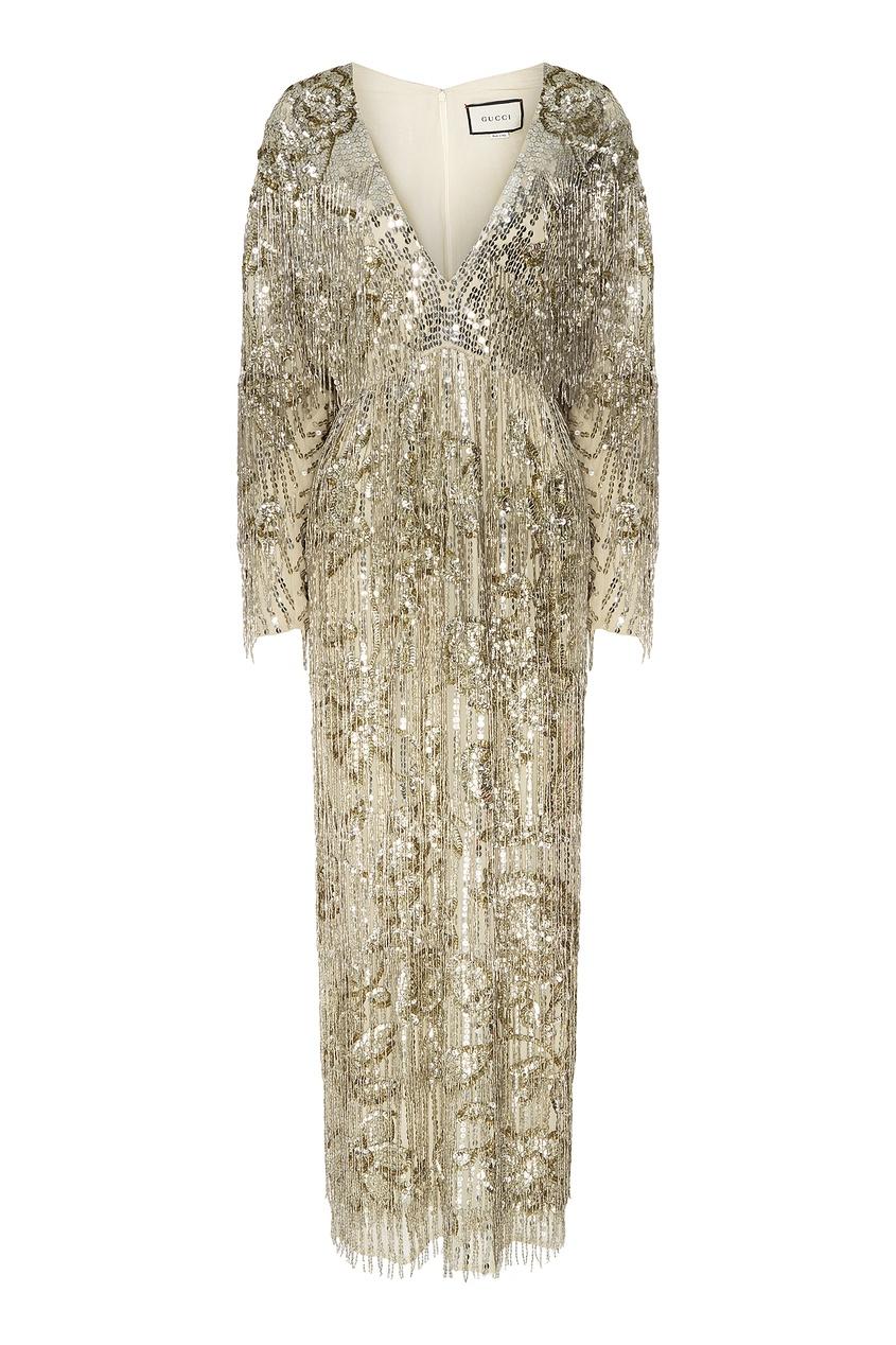 Платье макси с золотистыми пайетками Gucci
