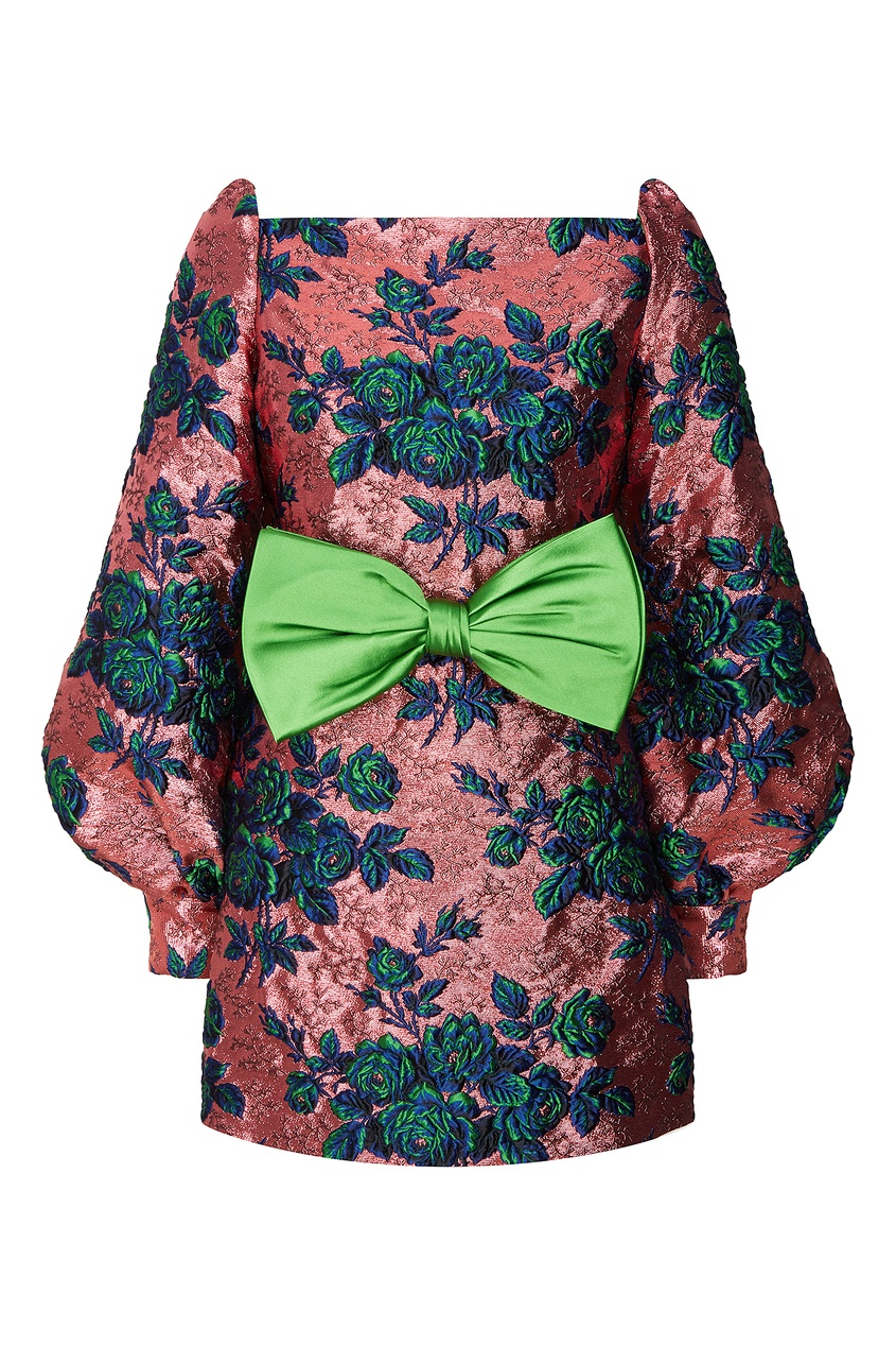 Платье мини с жаккардовым цветочным узором Gucci