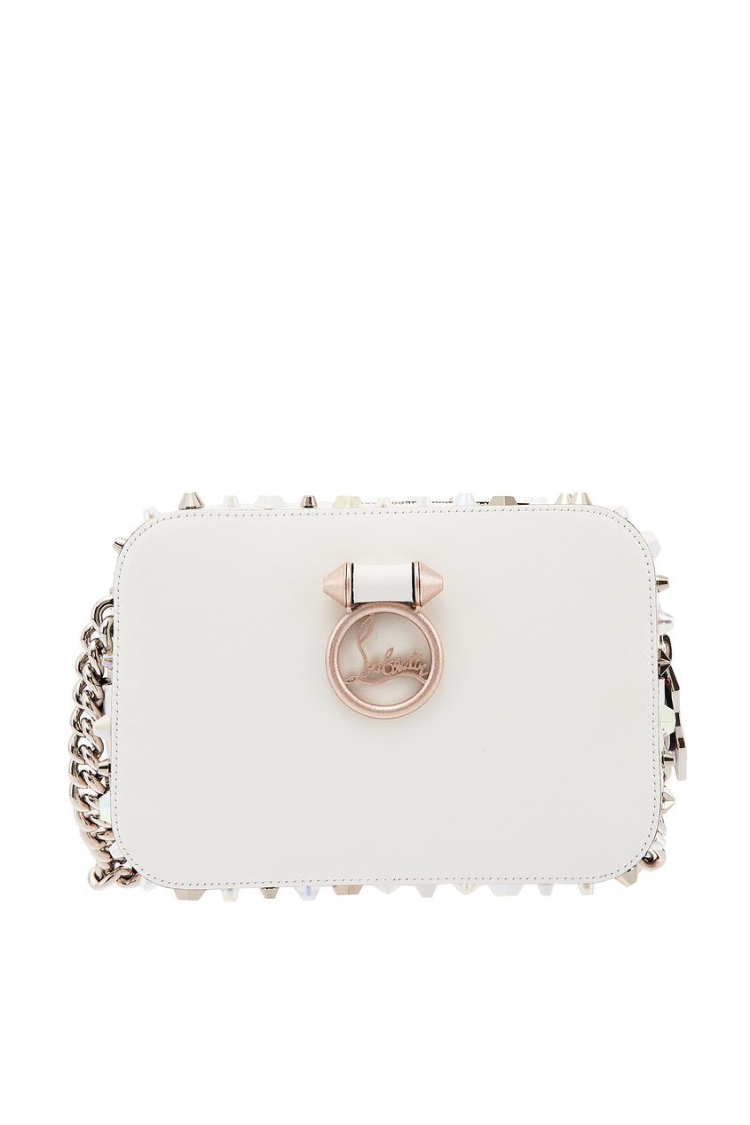 Белая сумка Rubylou с шипами Christian Louboutin