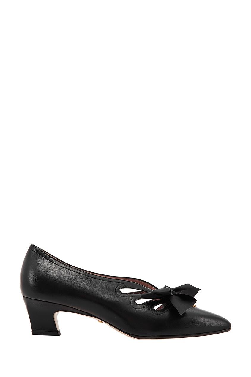 Черные кожаные туфли с бантами от Gucci