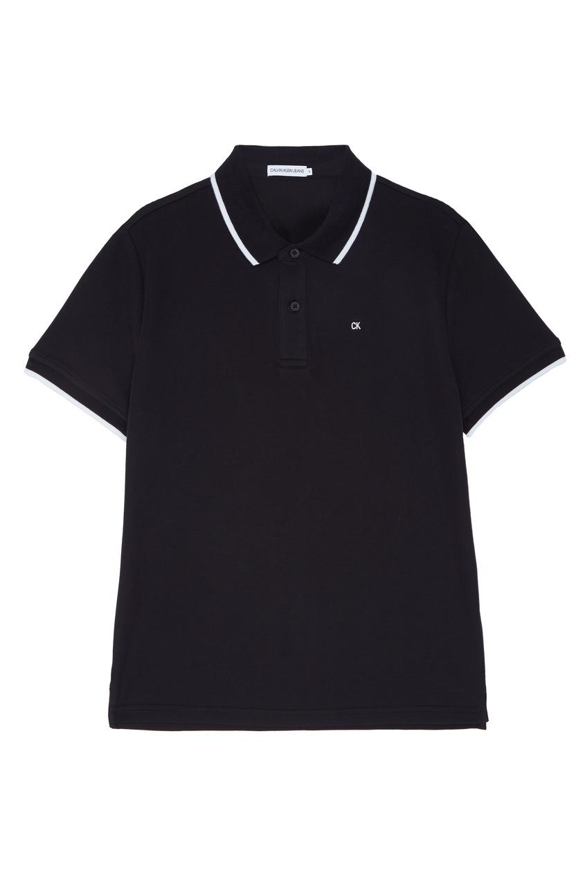 Черное поло с контрастной отделкой Calvin Klein Kids
