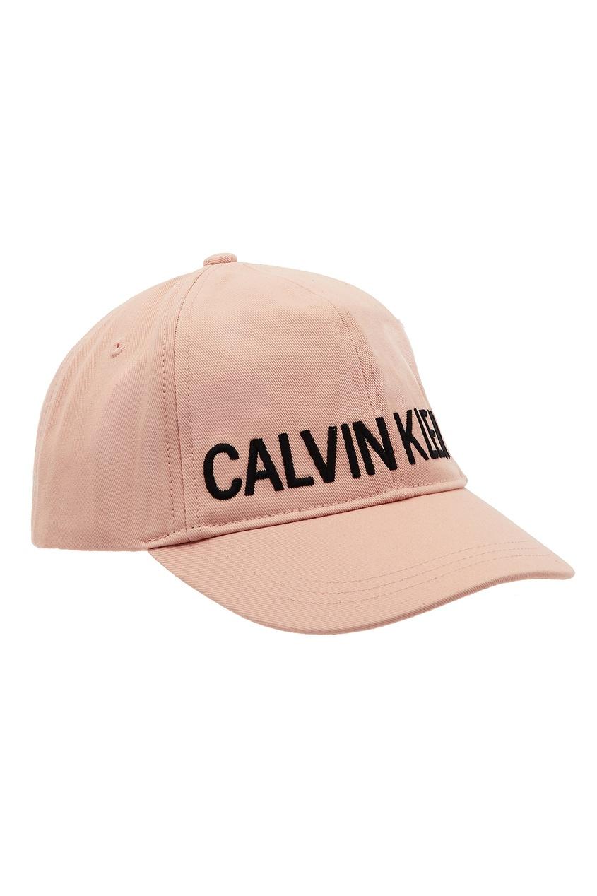 Розовая кепка с логотипом от Calvin Klein Kids
