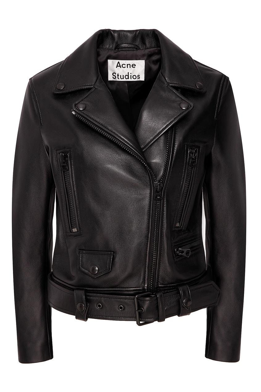 Байкерская куртка с отделкой тон-в-тон