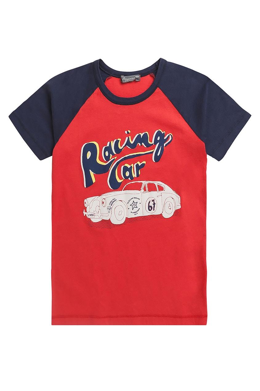 Хлопковая двухцветная футболка Bonpoint