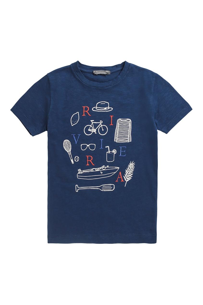 Темно-синяя футболка из хлопка Bonpoint
