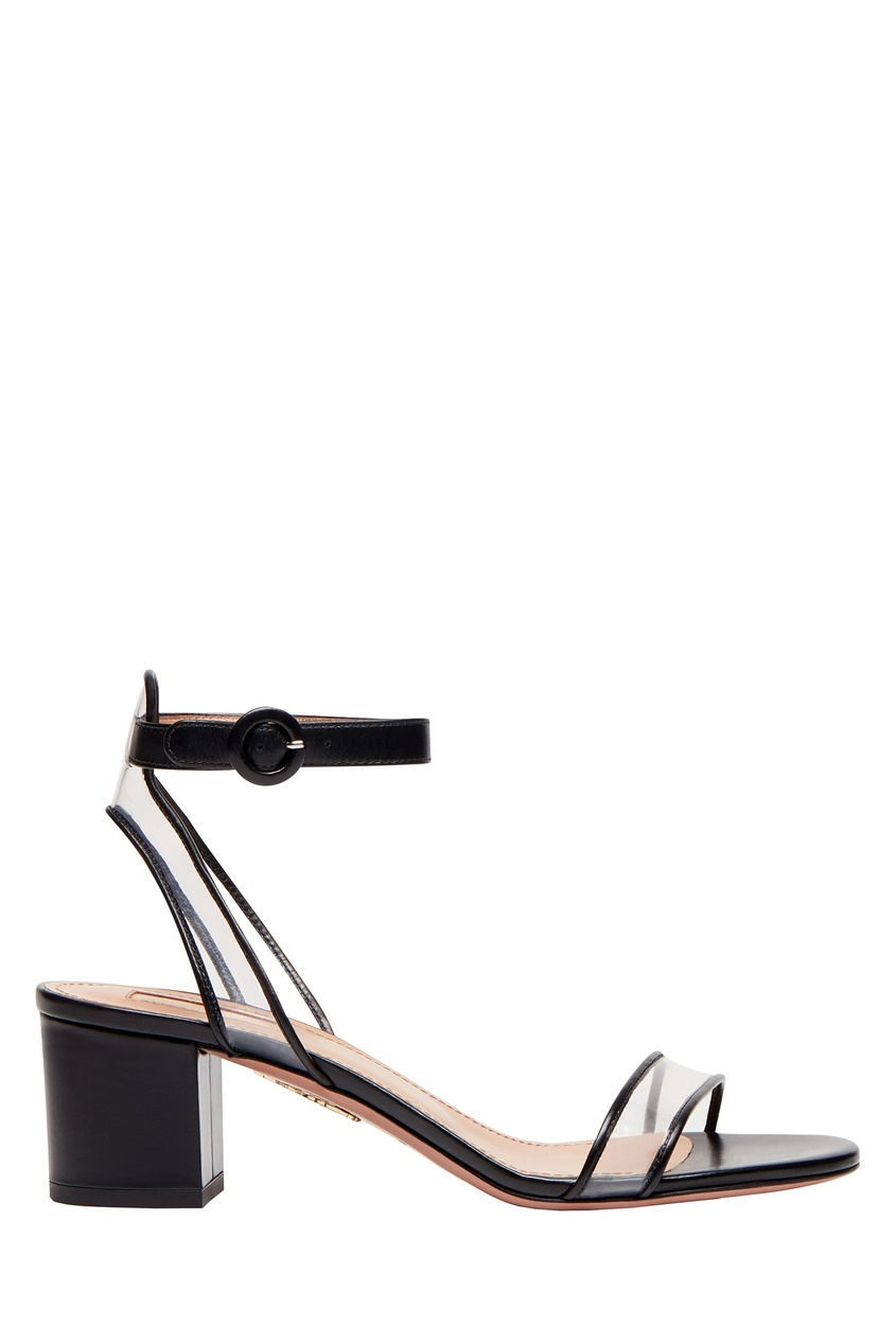 Черные босоножки с прозрачной отделкой Minimalist Sandal 50 Aquazzura