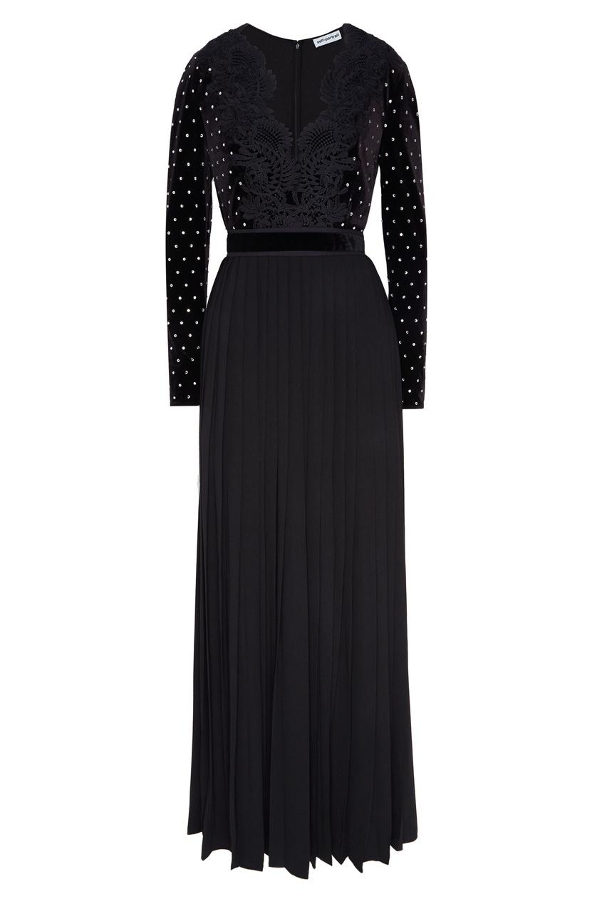 Черное комбинированное платье Self-Portrait