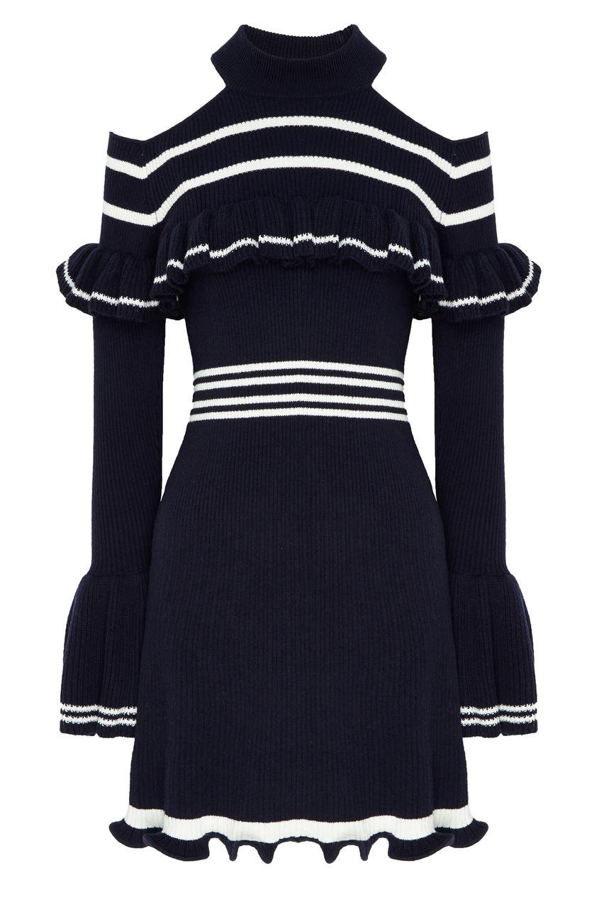 Купить со скидкой Вязаное платье с контрастной отделкой