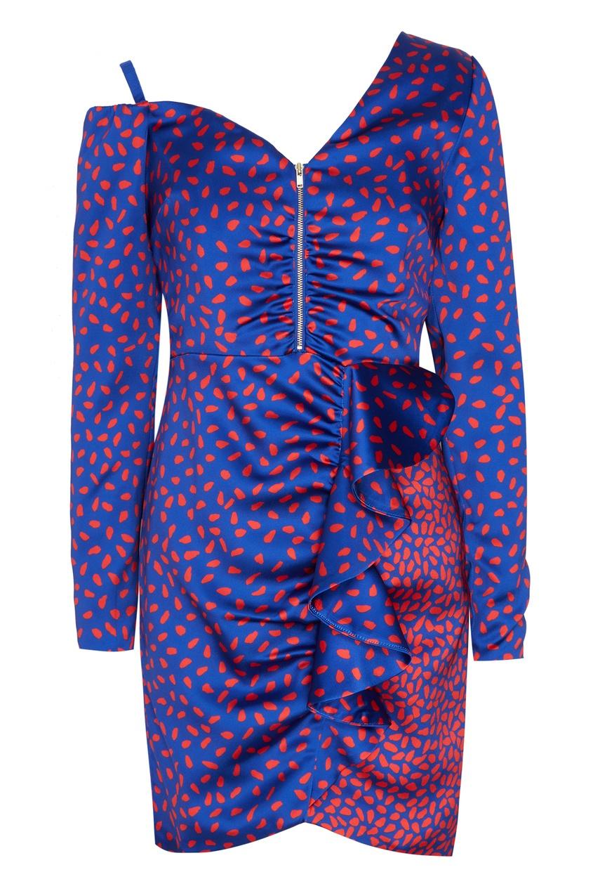 Купить Синее асимметричное платье с принтом от Self-Portrait голубого цвета