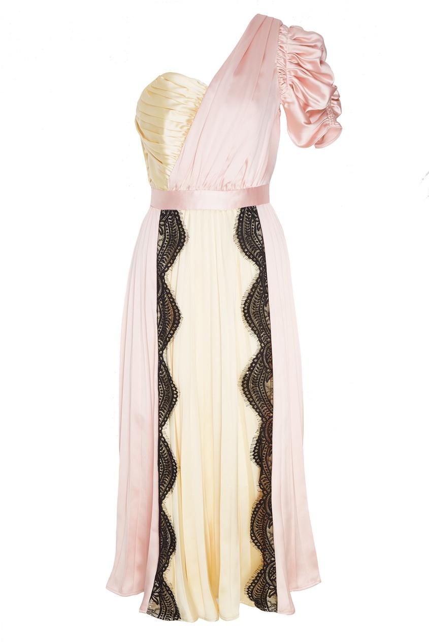 Розовое платье с плиссировкой Self-Portrait