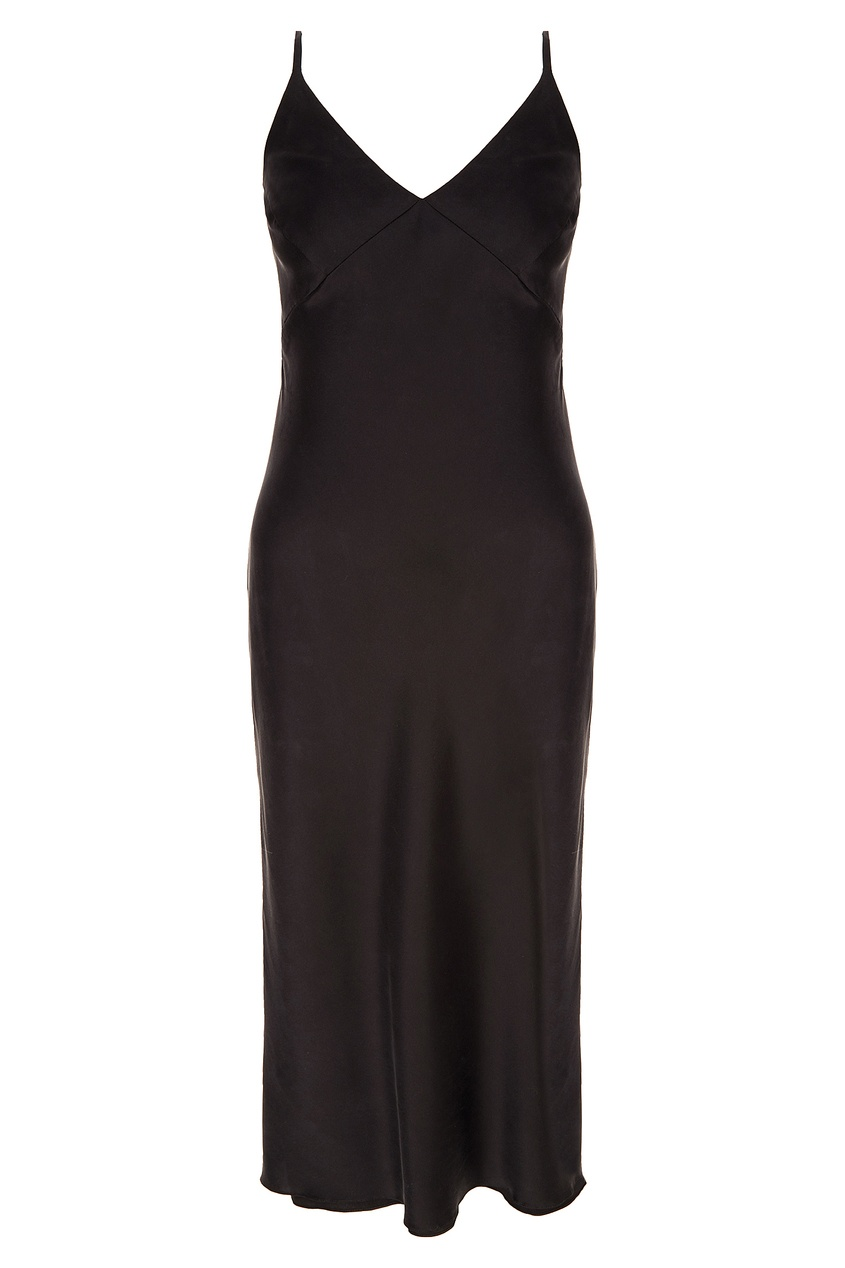 Шелковое черное платье-комбинация RUBAN