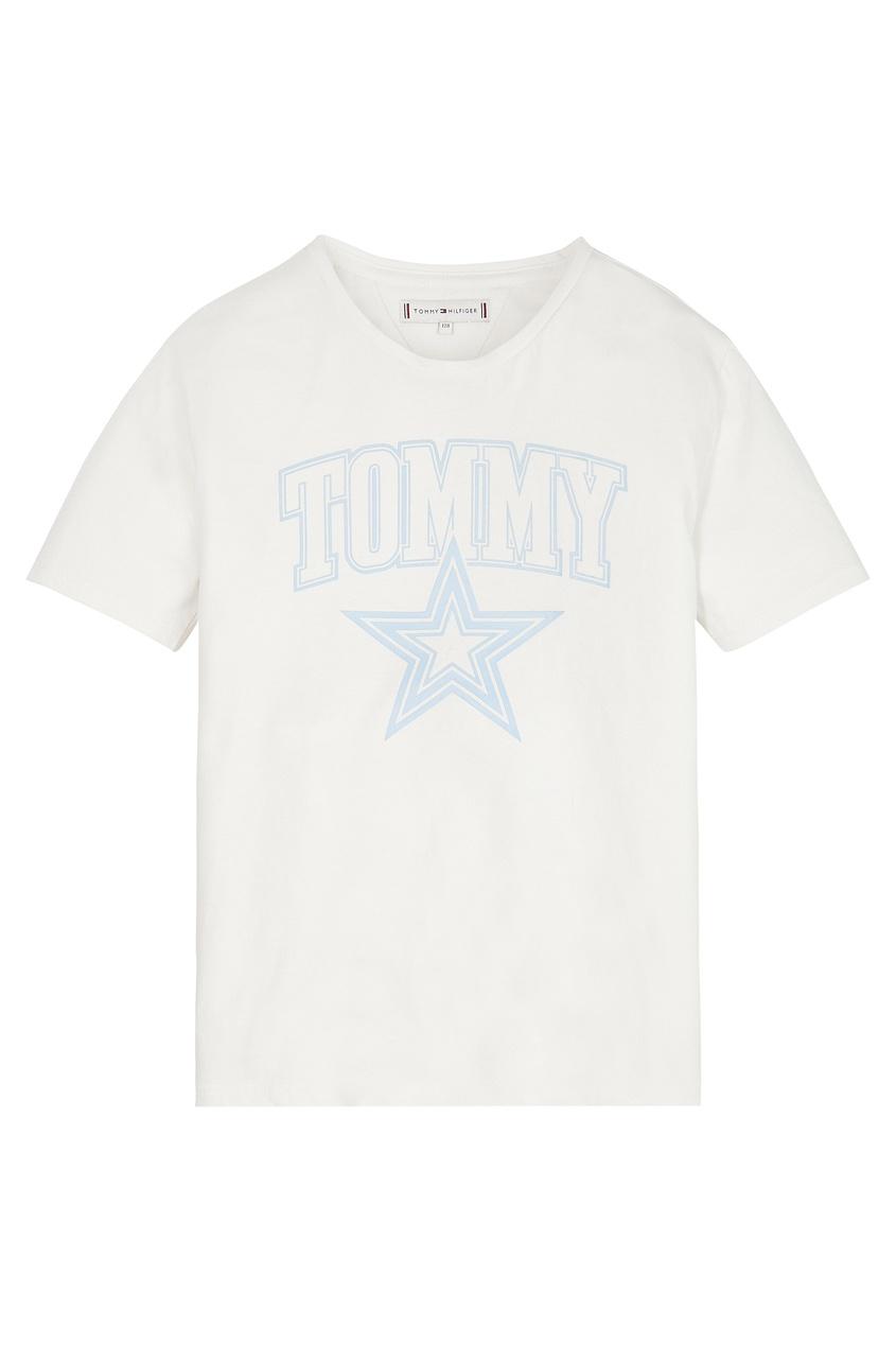 Белая футболка с голубым принтом Tommy Hilfiger kids