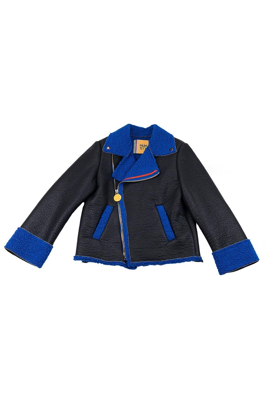Черная куртка со скошенной молнией #Mumofsix
