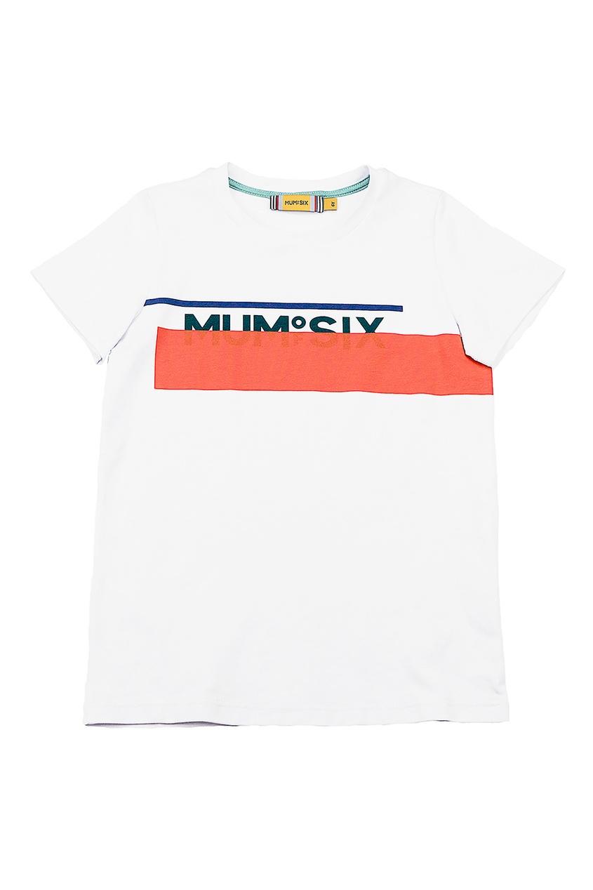 Футболка с оранжевой полосой и логотипом #Mumofsix