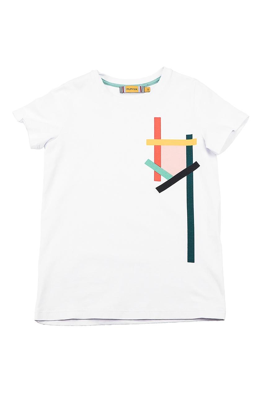 Белая футболка с абстрактным принтом #Mumofsix