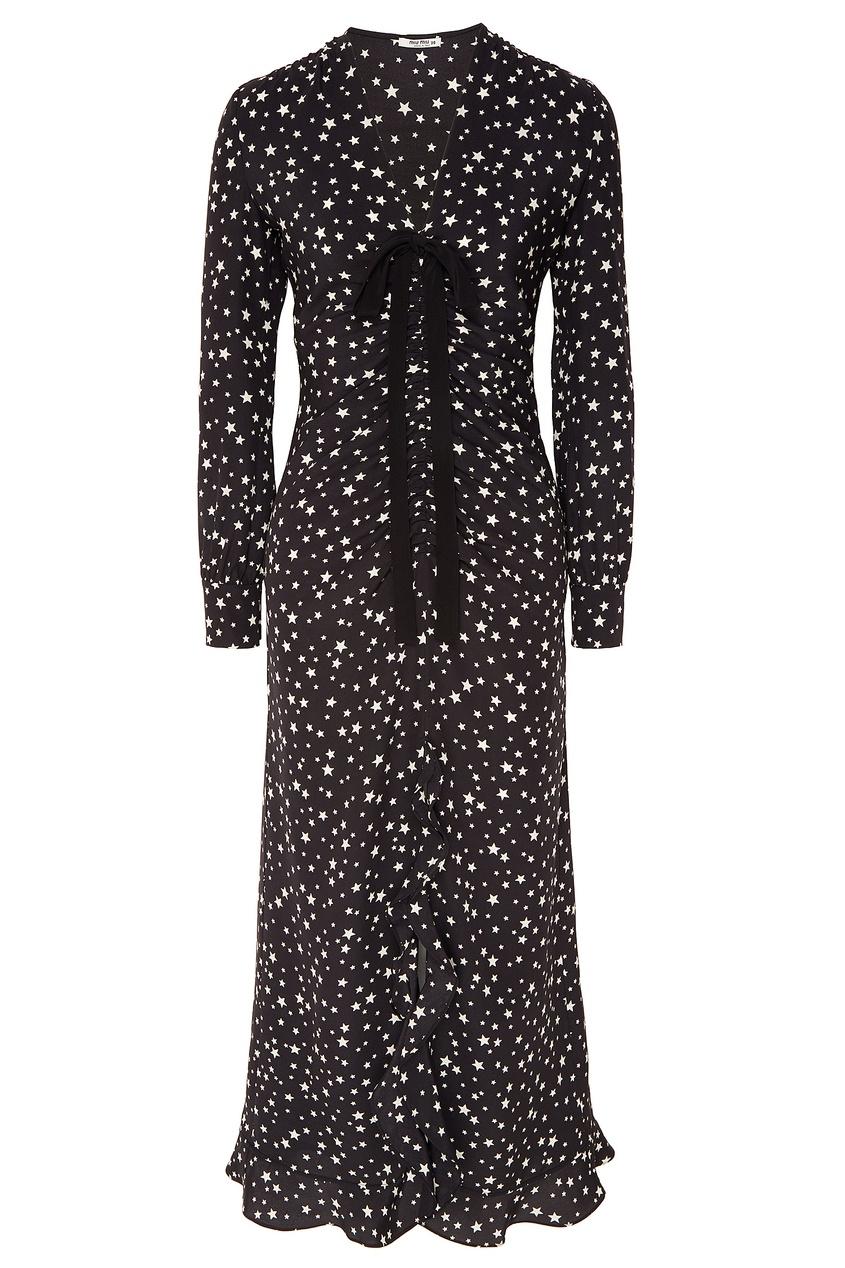 Черное шелковое платье с отделкой от Miu Miu