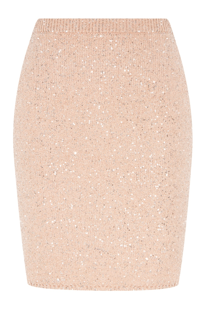 Бежевая юбка с блестками Miu Miu