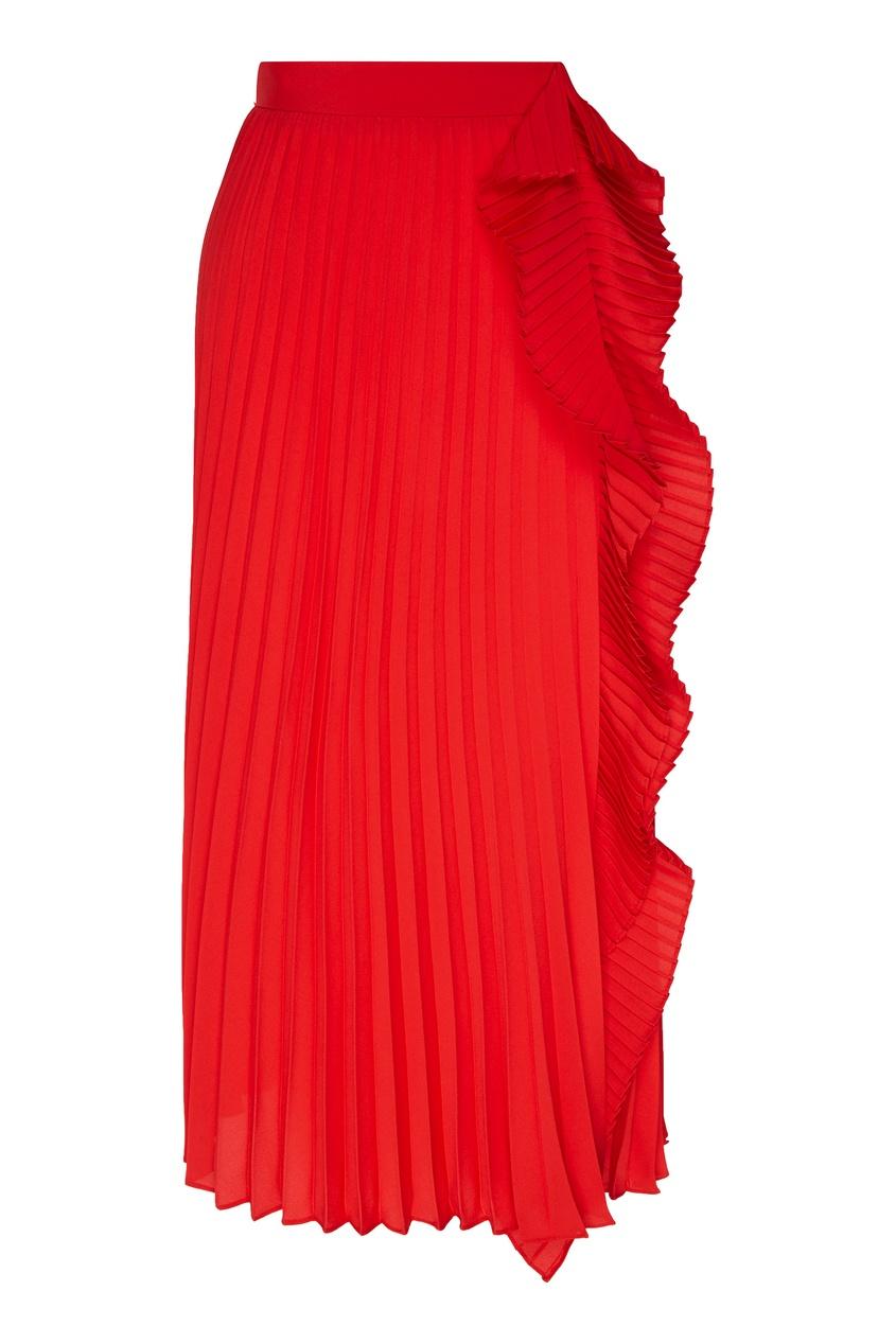 Купить Плиссированная юбка с оборкой от Miu Miu красного цвета