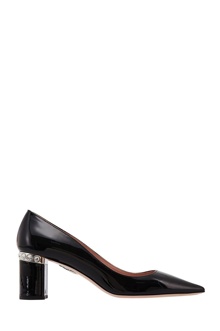Купить Лакированные черные туфли с кристаллами от Miu Miu черного цвета