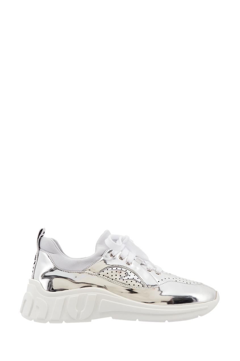 Купить Серебристые кроссовки от Miu Miu серебрянного цвета