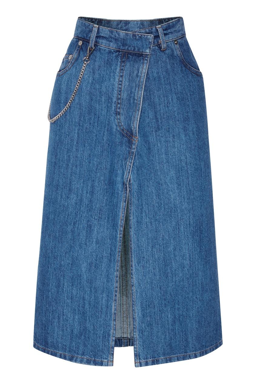 Купить со скидкой Джинсовая юбка с разрезом