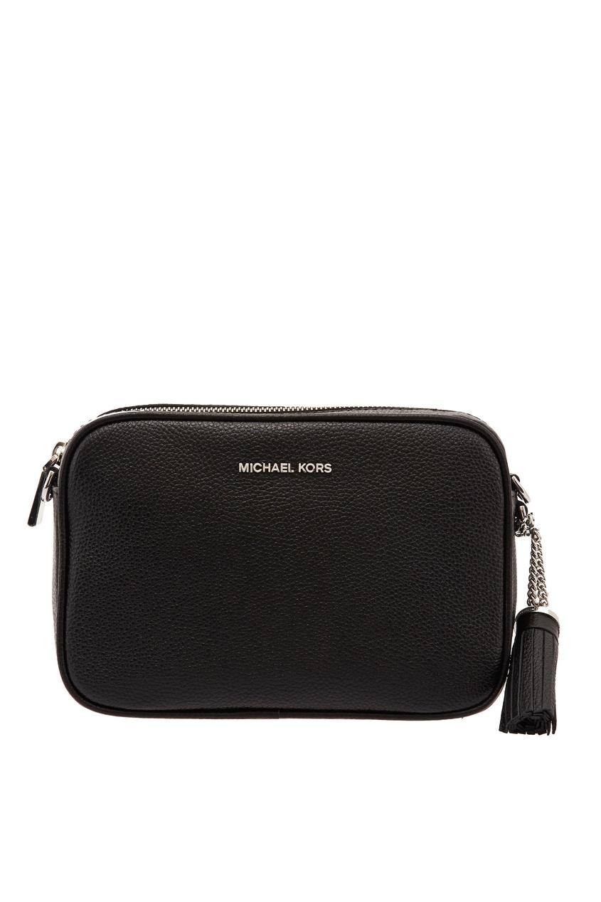 Черная кожаная сумка Crossbodies MICHAEL MICHAEL KORS