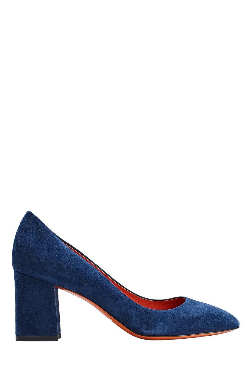 Синие замшевые туфли Santoni