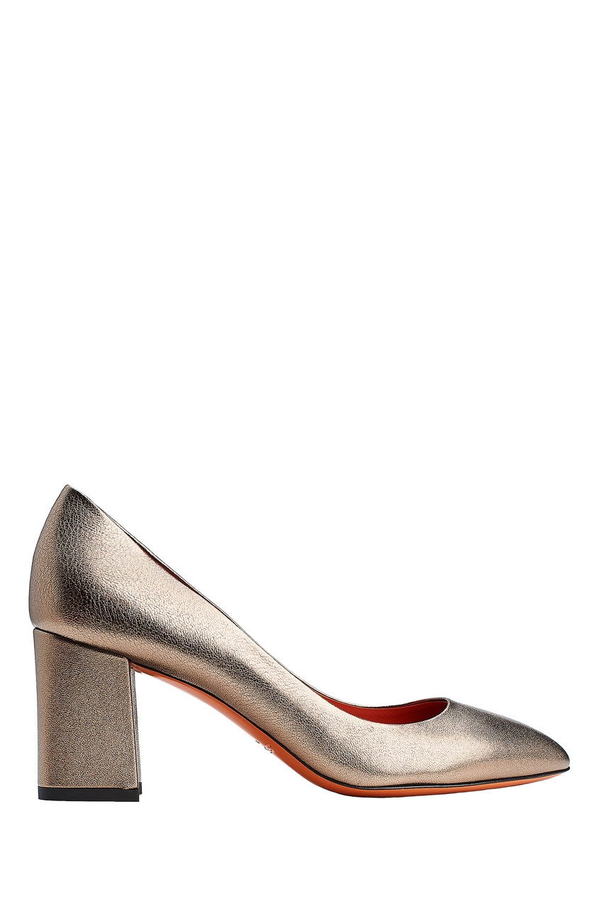 Золотистые кожаные туфли Santoni