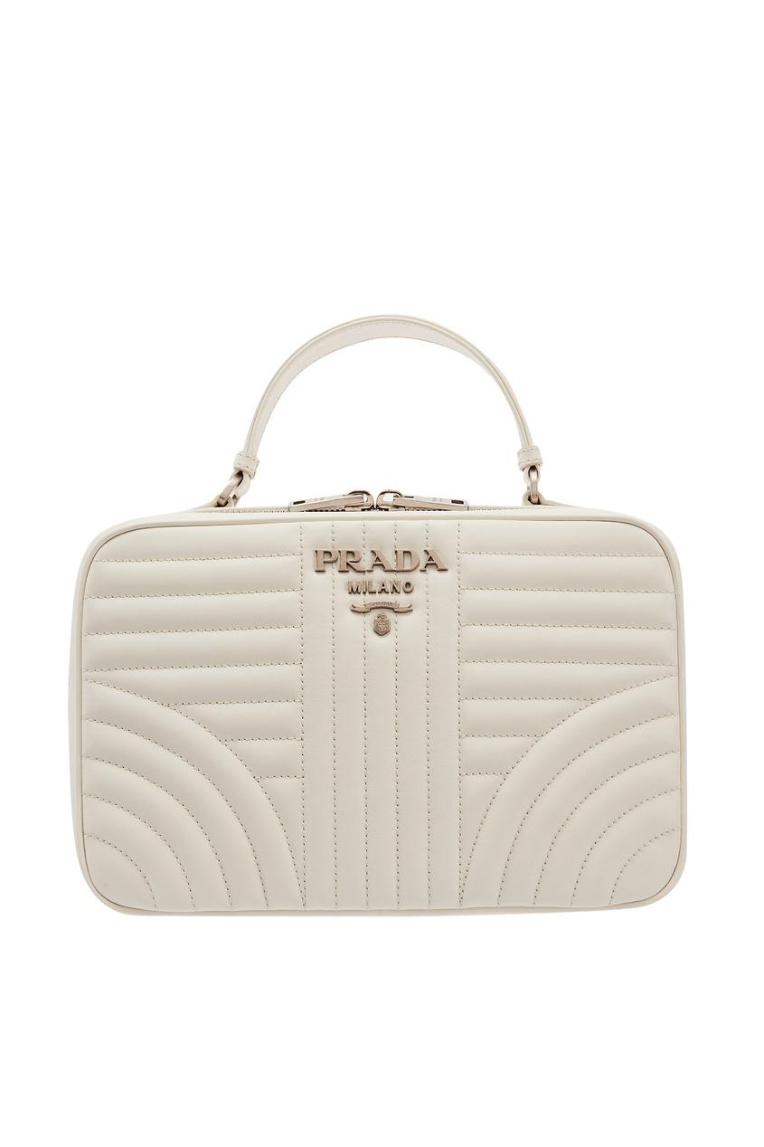 Белая стеганая сумка Diagramme PRADA