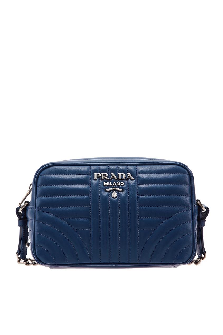 Синяя сумка с фактурной отделкой Diagramme PRADA