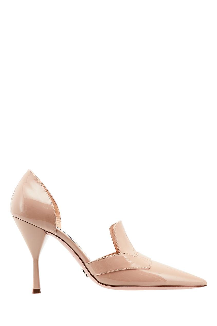 Бежевые лакированные туфли PRADA