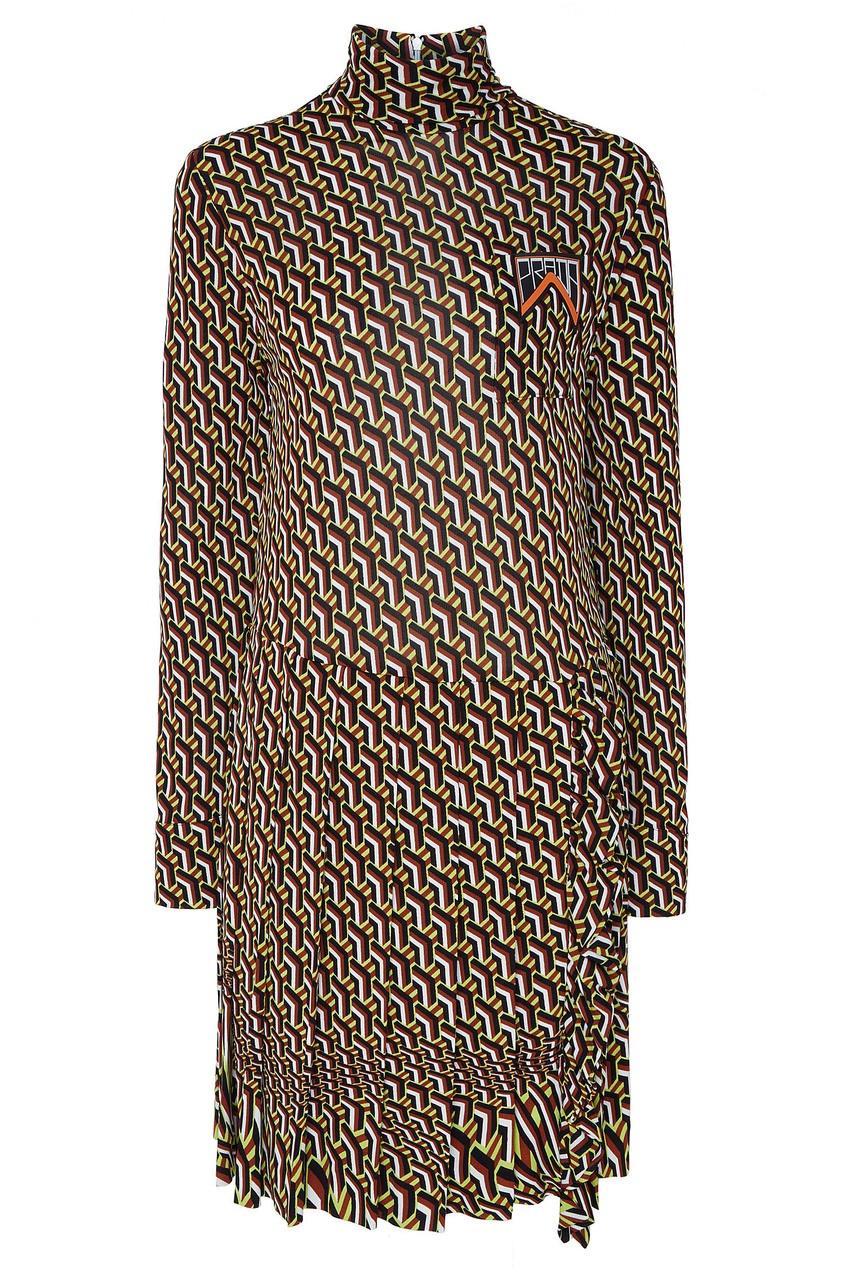 Платье-мини с мелким геометрическим принтом Prada