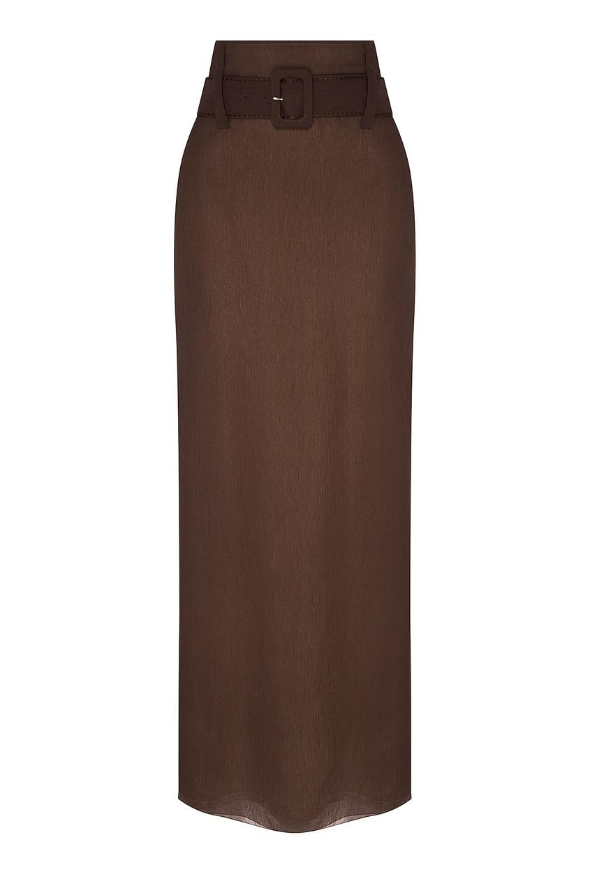 Длинная шелковая юбка с поясом