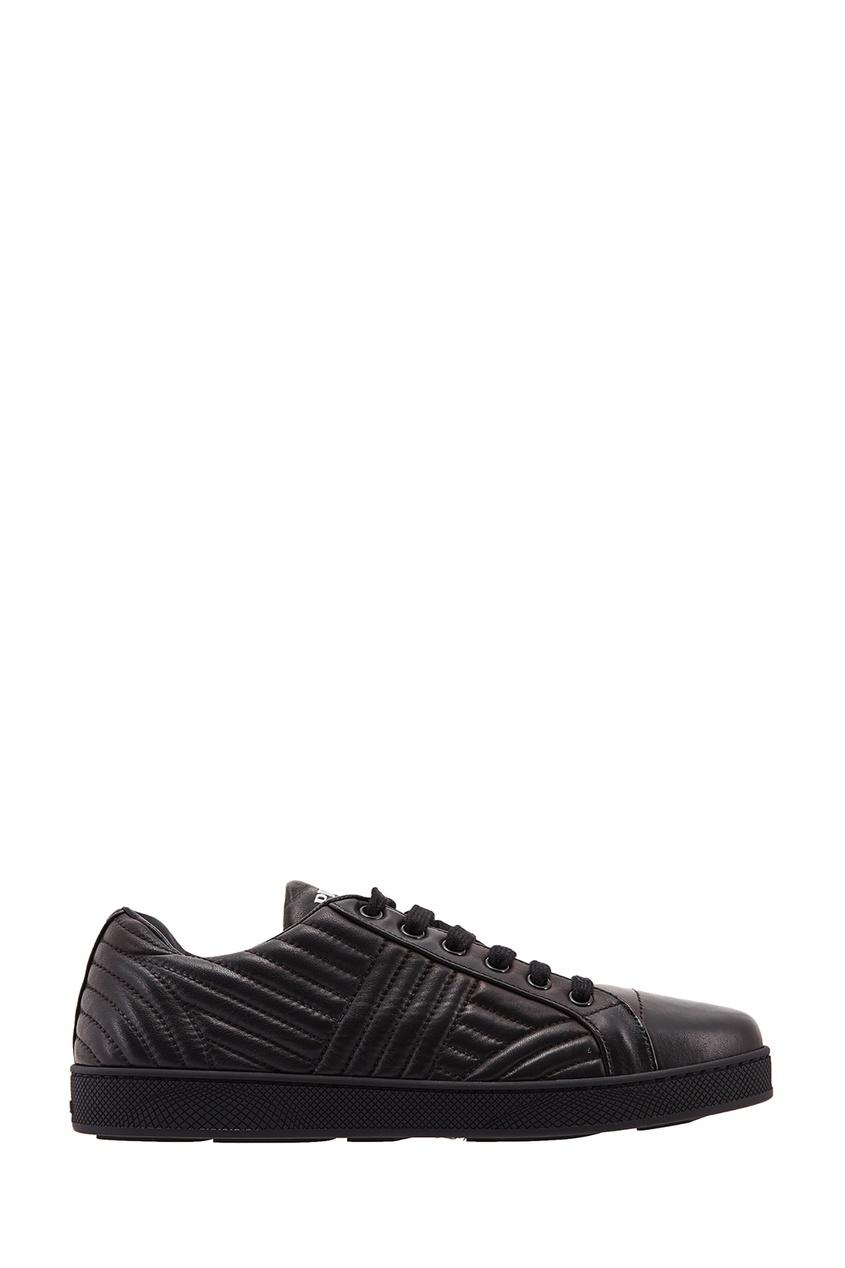 Черные кроссовки с фактурной отделкой PRADA