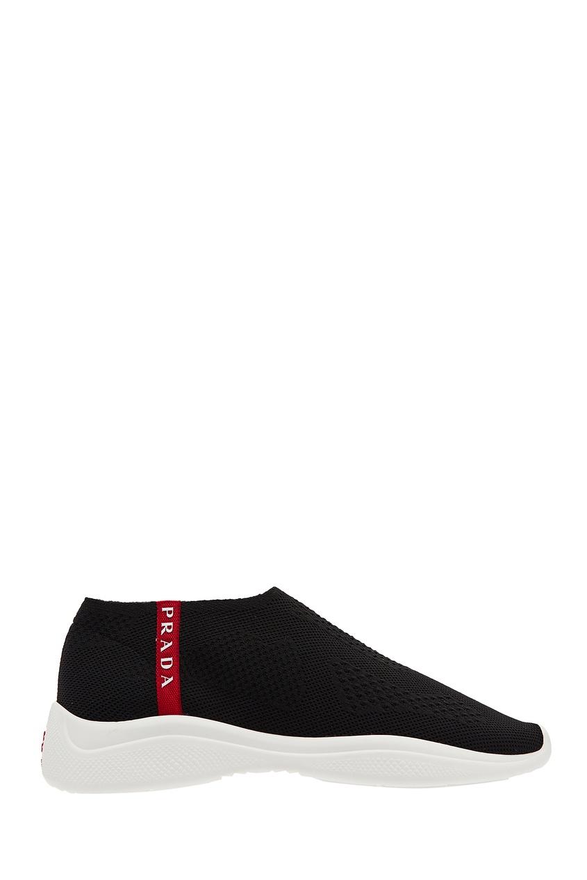 Текстильные черные кроссовки с логотипом PRADA