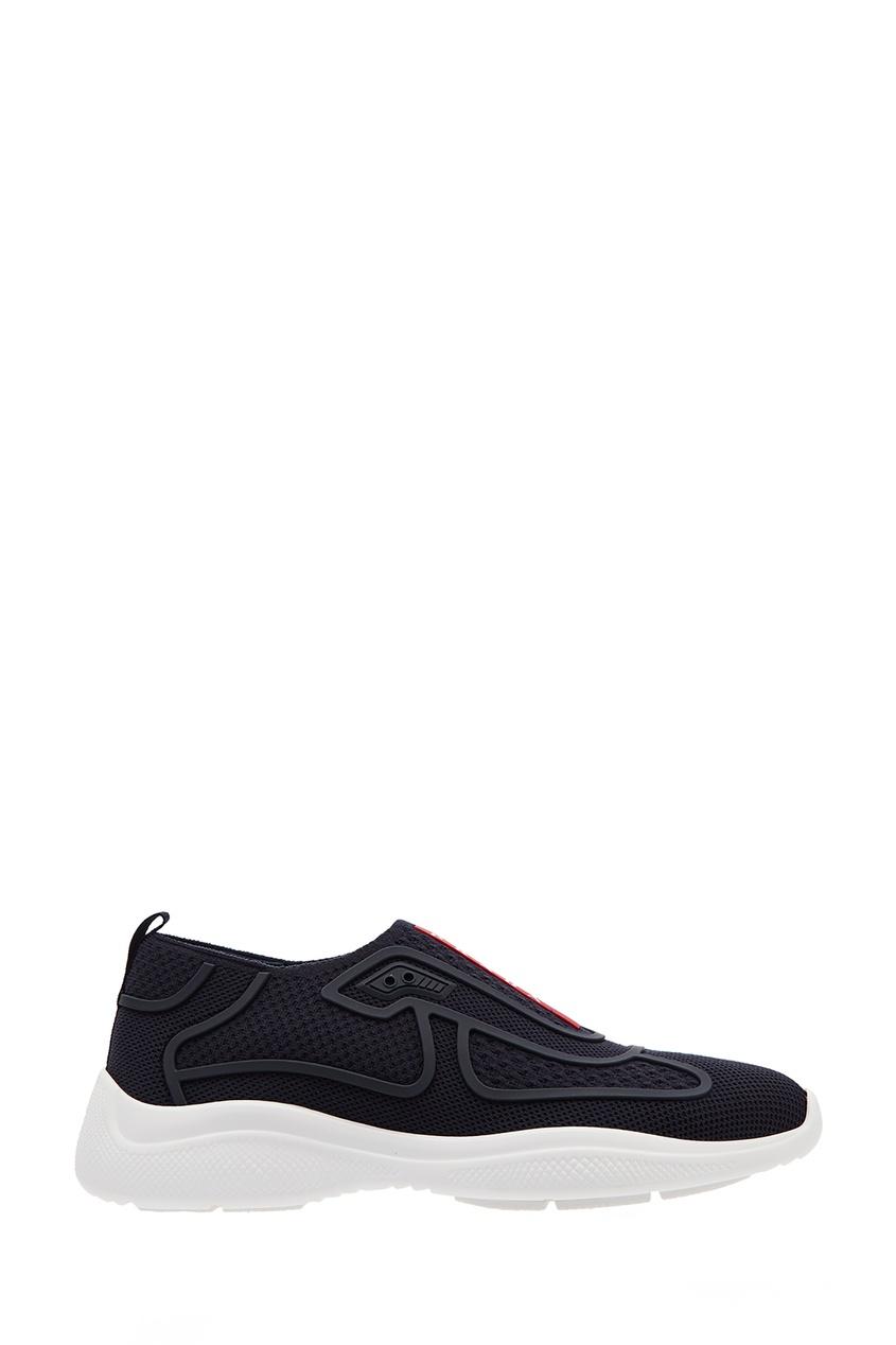 Черные текстильные кроссовки-лоутопы PRADA