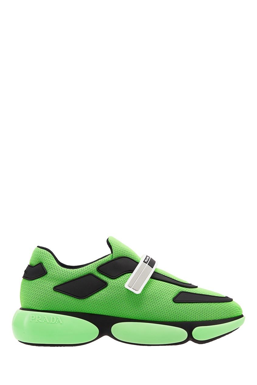 Флуоресцентно-зеленые кроссовки Cloudburst PRADA