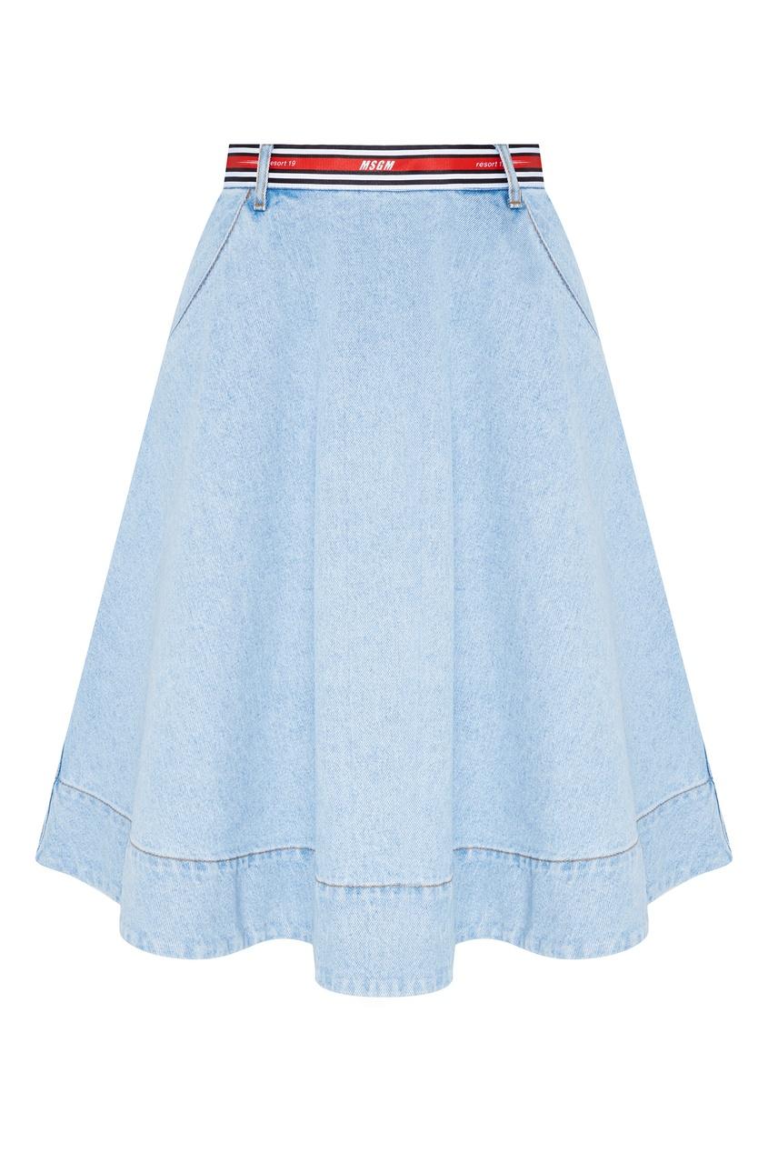 женская юбка msgm, голубая