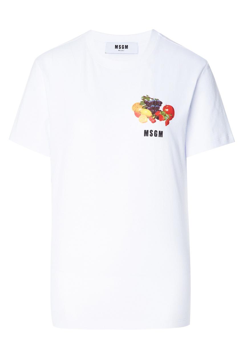 Купить Хлопковая футболка с ярким принтом от MSGM белого цвета
