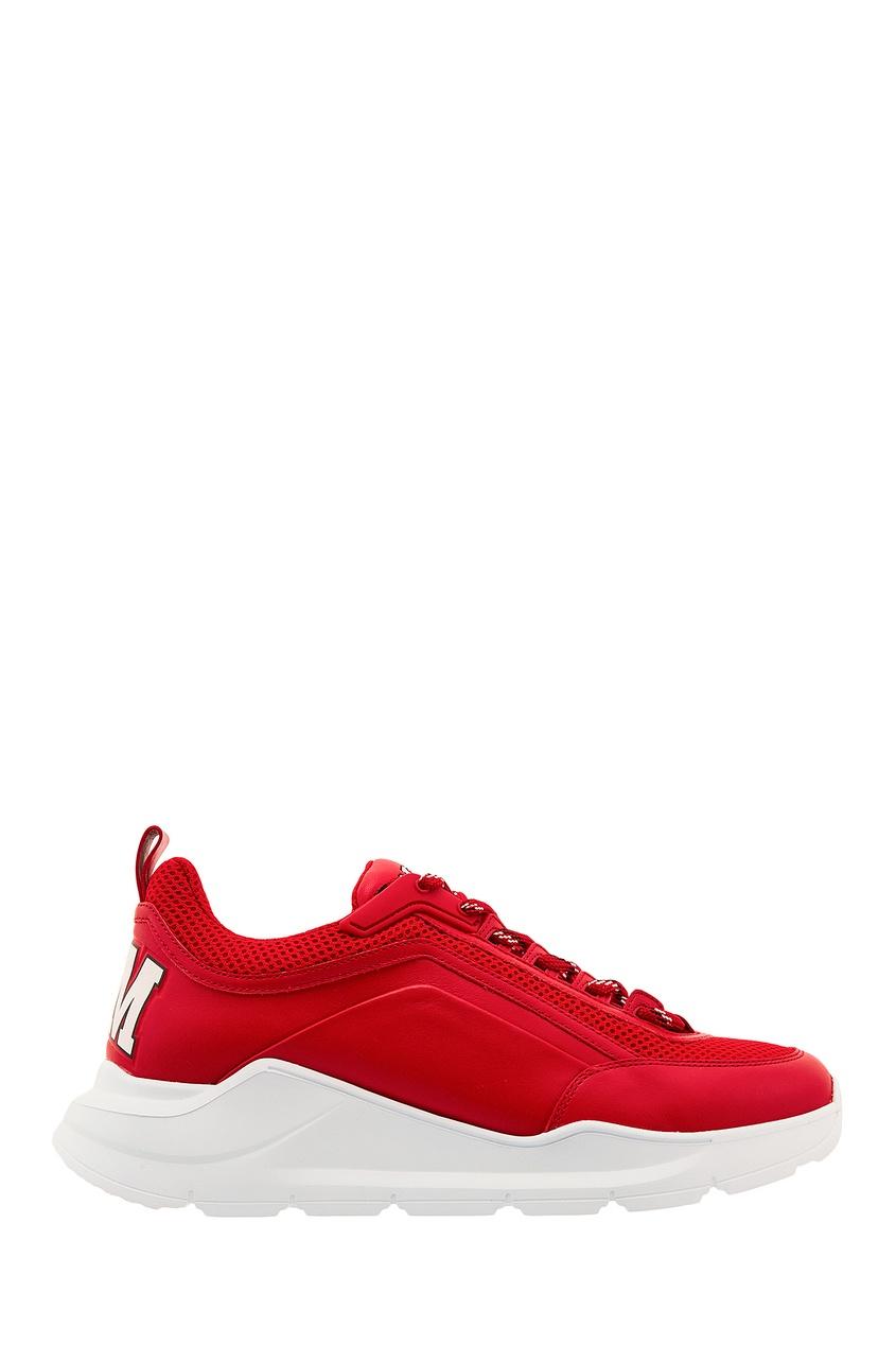 Комбинированные красные кроссовки MSGM