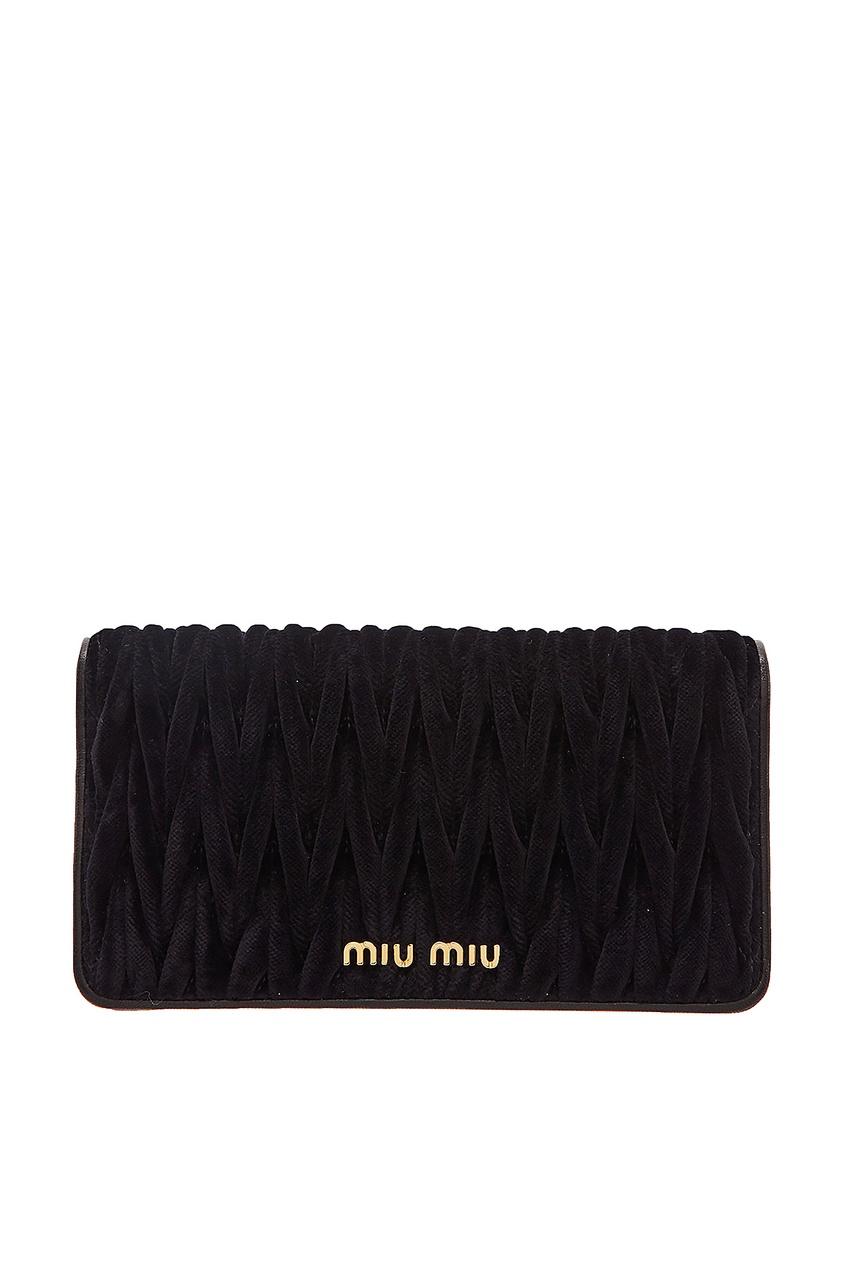 Бархатная черная сумка с цепочкой Matelassé Miu Miu