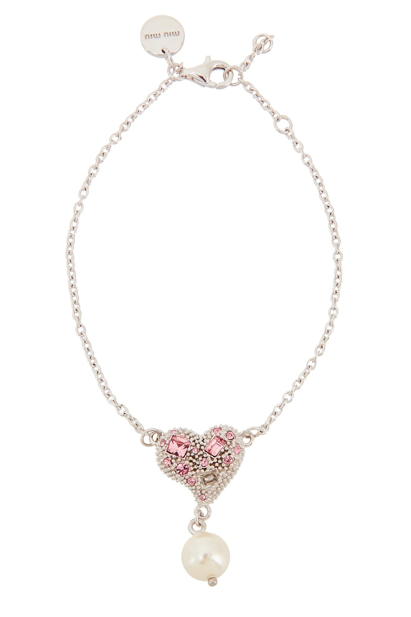 Серебряный браслет с сердцем от Miu Miu