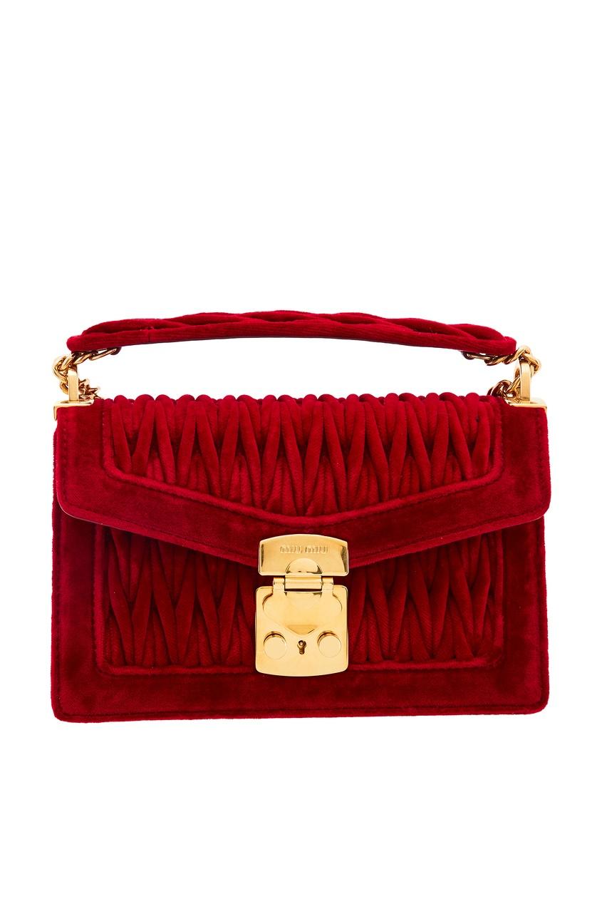 Красная бархатная сумка Miu Confidential Miu Miu