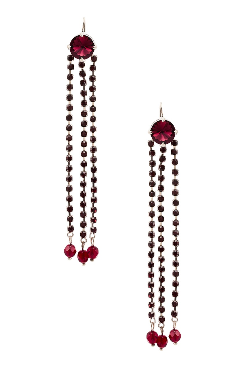 Серьги-подвески с бордовыми кристаллами фото