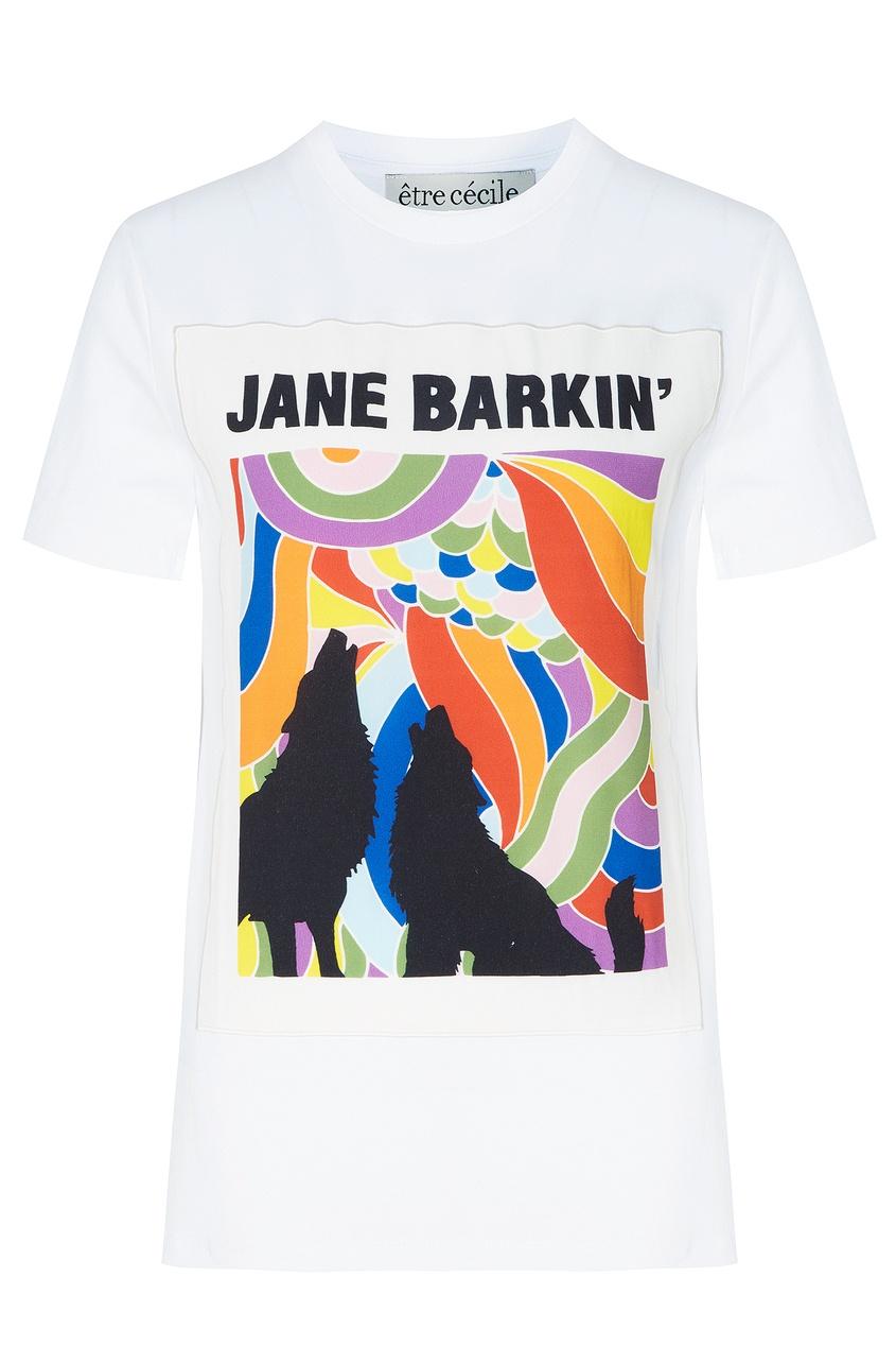 Белая футболка с разноцветным принтом, Белый