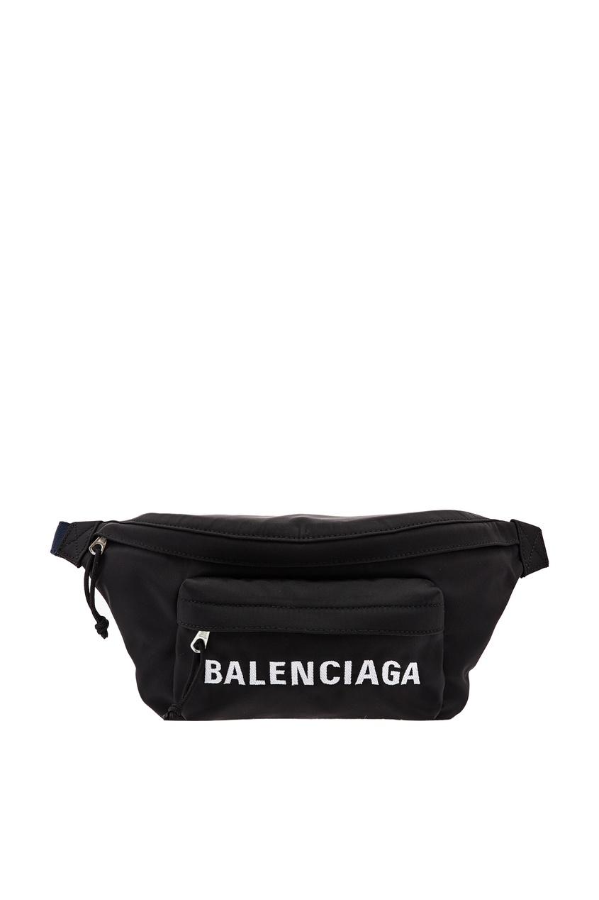 Черная поясная сумка Wheel от Balenciaga Man
